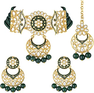 I Jewels 18K Gold Plated Traditional Kundan Studded Pearl Choker Necklace Jewellery Set For Women (ML291)