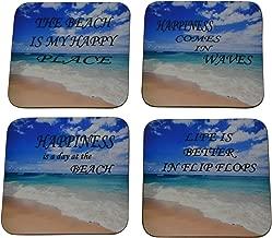 Ocean Beach Drink Coaster Set Wave Sand Surf Gift Joke Funny Home Kitchen Barware
