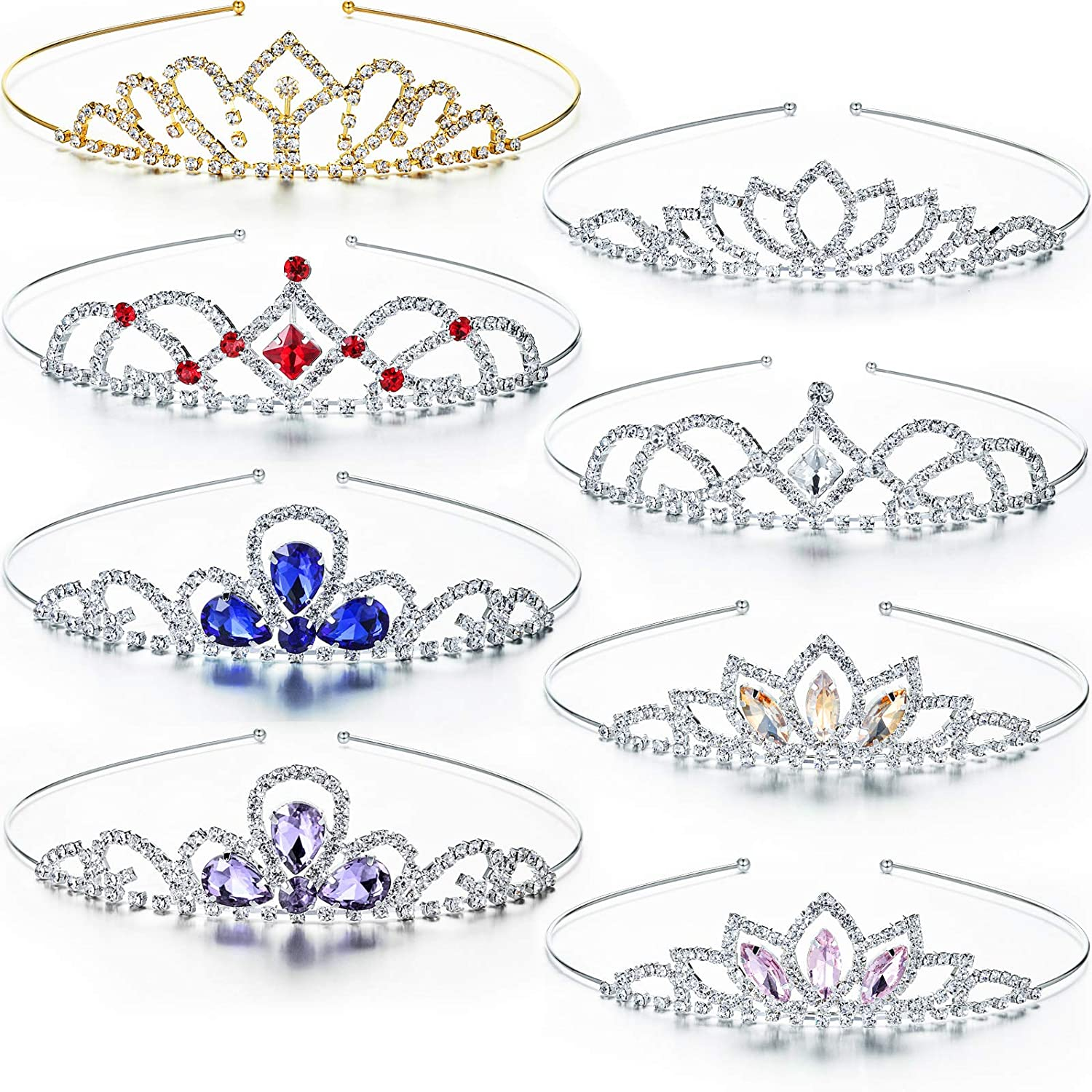 8 Pieces Girls Recommended Princess New arrival Rhinestone Tiara Crystal Crown Colorful