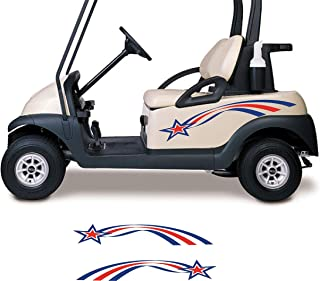 Golf Cart Decals Red White and Blue Stars and Stripes Side by Side Go Kart Auto Truck Racing Stickers Graphics GC305