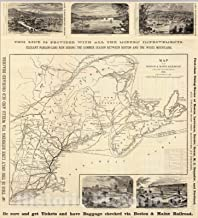 Historic Map - Timetable Map - 1879 Map Boston & Maine Railroad. - Vintage Wall Art - 44in x 49in