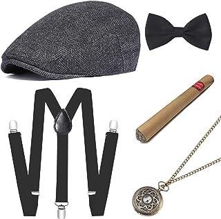 مجموعة إكسسوارات أزياء جاتسبي للرجال من BABEYOND 1920s تتضمن قبعة بنما بحزام على شكل حرف Y مرن ومربوط مسبقاً على شكل قوس و...