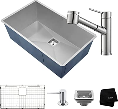 Kraus KHU32-2610-41CH 31 ½ Inch Chrome Combo with Pax Zero-Radius Handmade Undermount Bowl 16 Gauge Stainless Steel Sink and Oletto Single Handle Pull Out Kitchen Faucet with Soap Dispenser