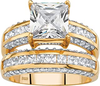 14K Yellow Gold over Sterling Silver Princess Cut Cubic Zirconia Bridal Ring Set
