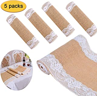 BIT.FLY Hessian Burlap Table Runner, 12 x 108 inch Natural Jute Lace Table Runners for Country Vintage Wedding Party Dinner Decoration, Pack of 5