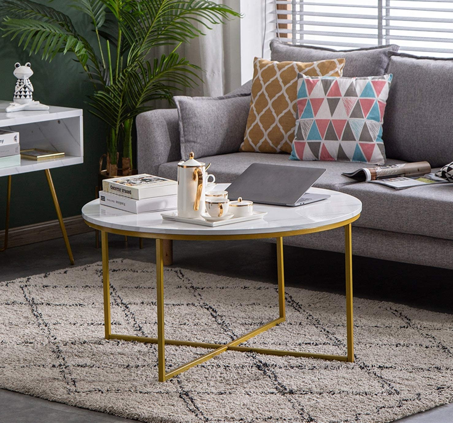 Angelbee 直営店 Luxurious Coffee Table Modern Faux Accent Round いつでも送料無料 Marble