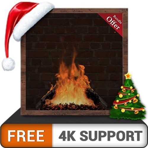 無料の暖炉のレンガ-HD 8K 4Kテレビで冬のクリスマス休暇を楽しみ、調停と平和の壁紙とテーマとして