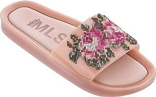 Women's Beach Slide Flower Pink/Green 8 M US