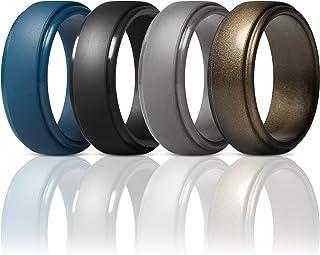 حلقه های سیلیکون ThunderFit برای مردان - 4 حلقه / 1 حلقه حلقه عروسی لاستیکی لبه 10 میلی متر عرض