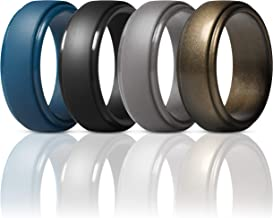 ThunderFit Silicone Rings for Men - 4 Rings / 1 Ring Step Edge Rubber Wedding Bands 10mm Wide - 2.5mm Thick