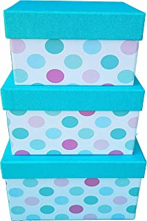 ITALIA-3 PC Gifts Boxes Premium Quality Toys Storage Bins 3-pcs Set - Storage Boxes with Lids - Shelf Closet Organizer - Decor Nesting Boxes - Stylish Gift Boxes with Lids, L/M/S W/Aqua Glitter LID
