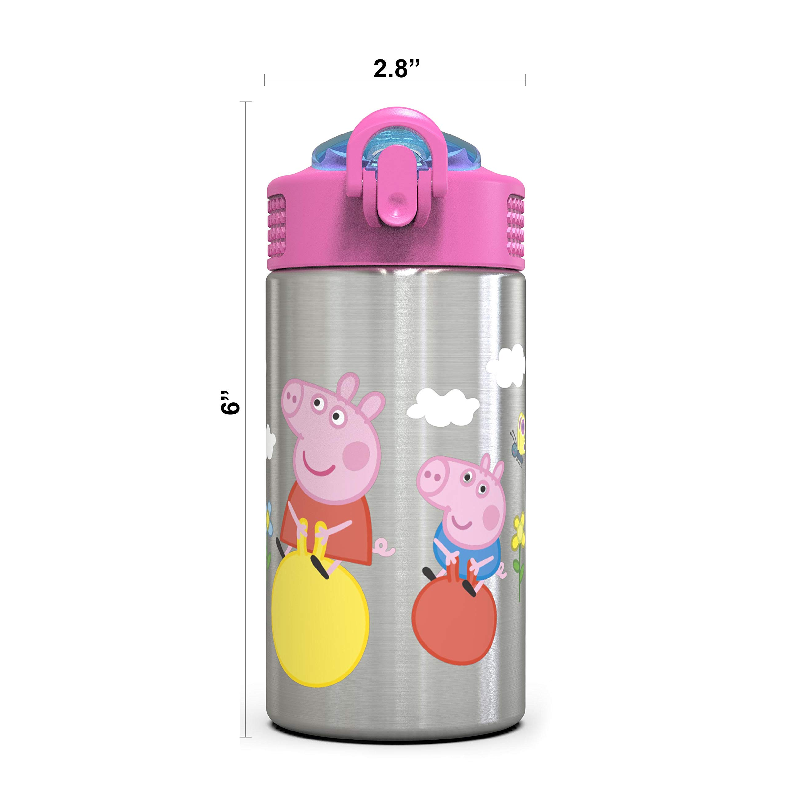 BPA Free Durable Design Peppa Pig SS Zak Designs Peppa Pig 15.5oz Stainless Steel Kids Water Bottle with Flip-up Straw Spout