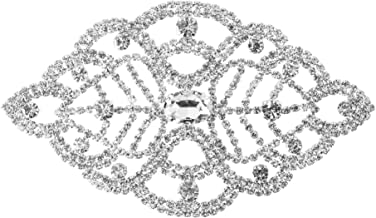 Trimming Shop Rhinestone Diamante Motif Crystals Sew on Applique Patch for Wedding Bridal Dress, Casual, Formal Fashion Wear Accessories 140mm x 80mm Patch No. B141