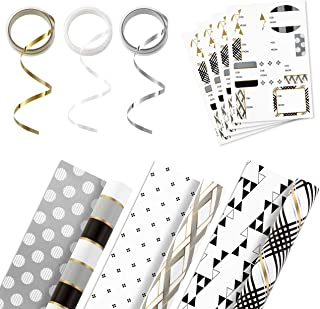 Hallmark Reversible Wrapping Paper Bundle with Ribbon & Gift Tag Stickers  - Black, Gold Stripes, Plaid (3 Pack, 120 sq. ft. ttl, 30 Yds. Mini Ribbon, 36 Labels) for Christmas, Hanukkah, Weddings