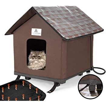 Heated Cat Houses For Indoor and Outdoor Cats, Elevated, Waterproof and Insulated. A Safe Pet House and Kitty Shelter For Your Cat Or Small Dog To Stay Warm and Dry. A Bed Cave For Your Fury Friend.