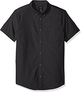 Men's Oxford Short Sleeve Button Down Shirt, Pirate Black, L