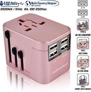 Power Plug Adapter - International Travel (Rose Gold)- w/4 USB Ports Work for 150+ Countries - 220 Volt Adapter - Travel Adapter Type C Type A Type G Type I for UK Japan China EU Europe European