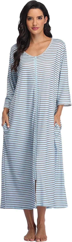 Women's Zip Up Housecoat Selling rankings Soft Half Bathrobe Sleeve Sleepwear Some reservation Ful