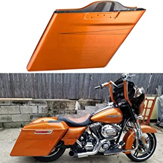 Amber Whiskey 4 1/2 inch Stretched Saddlebags Charcoal Metallic Pinstripe Extended Saddle Bags Fit for 2014 2015 2016 2017 2018 2019 Harley Touring Street Glide Road Glide Electra Glide