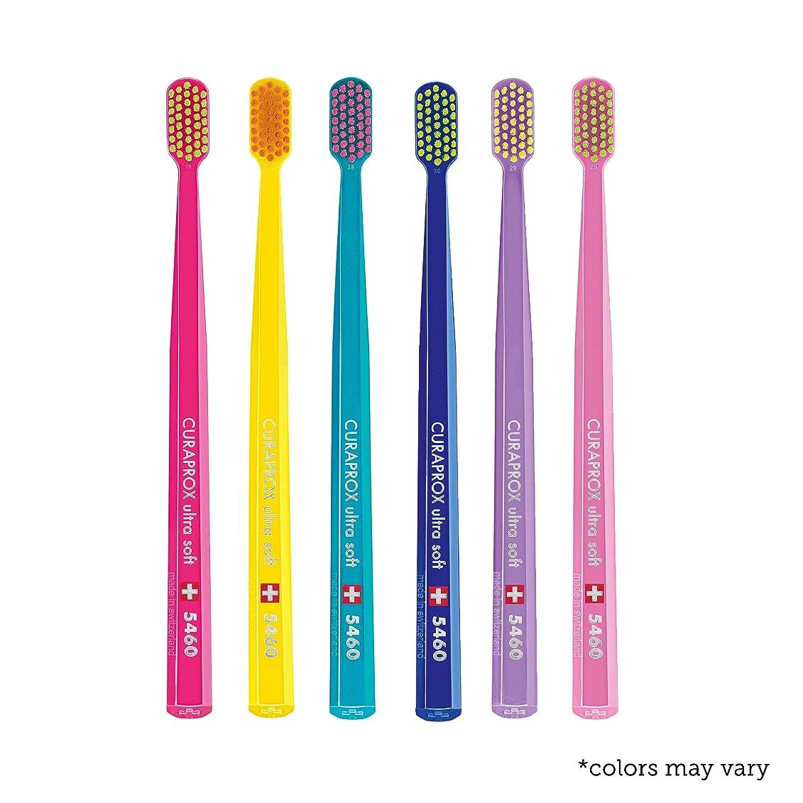 好奇心市の花運河Ultra soft toothbrush, 6 brushes, Curaprox Ultra Soft 5460. Softer feeling & better cleaning, in amazing vivid colours. by Curaprox