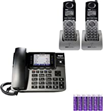 RCA U1000 Unison Base Station - 4 Line Phone Systems for Small Business with Digital Receptionist Bundled with RCA U1200 Cordless Accessory Handsets (2-Pack) and 6 Blucoil AAA Batteries