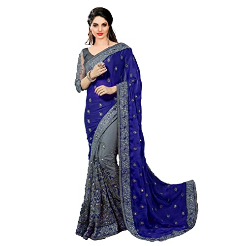 0045827db4 Nivah Fashion women's Satin & Net Half N Half Embroidery work Sari With  Blouse piece K608