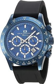 Oceanaut Men's Biarritz Stainless Steel Quartz Watch with Rubber Strap, Black, 22 (Model: OC6117R)