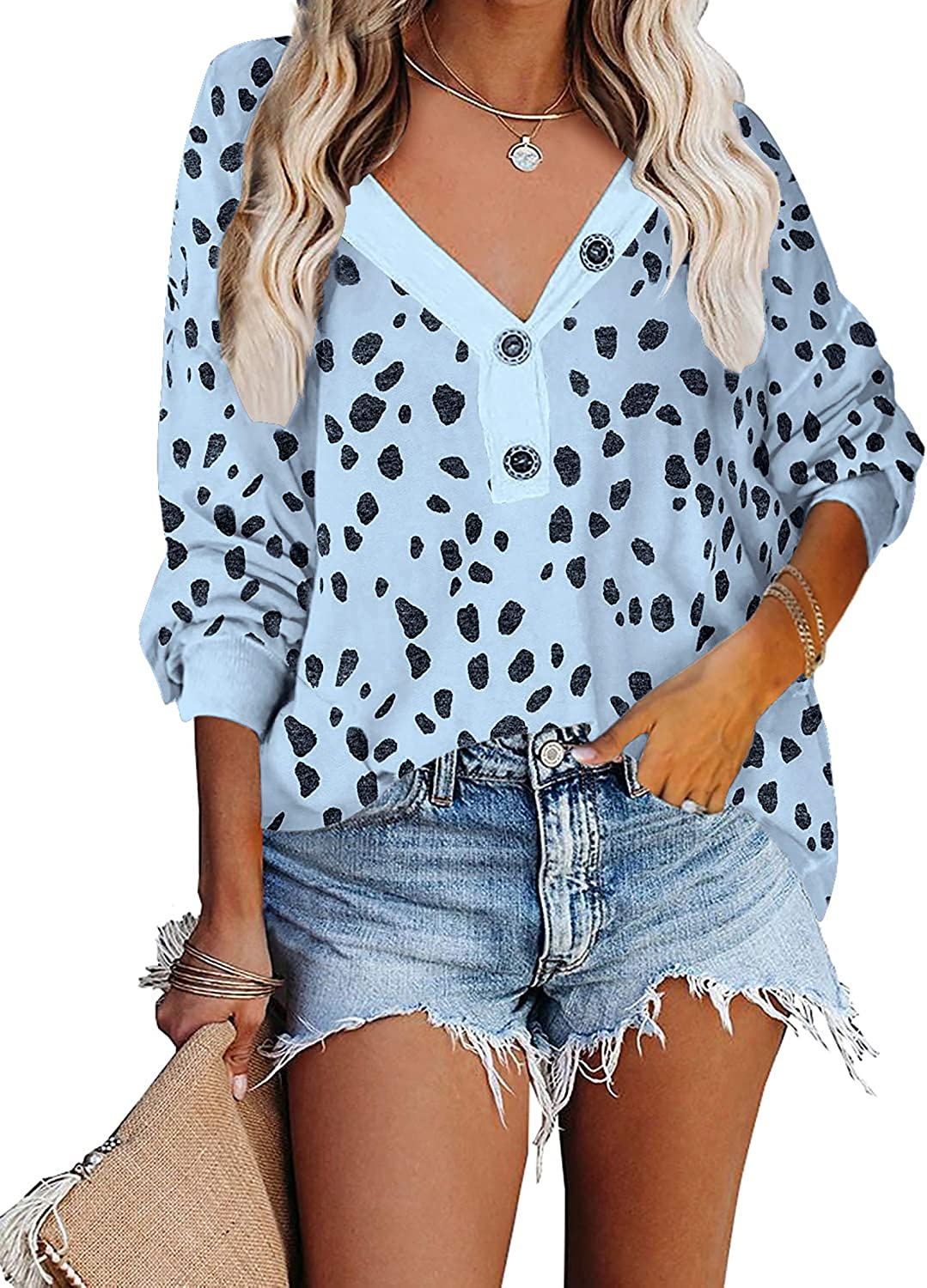 BTFBM Women Long Sleeve V-Neck Buttons Loose Shirts Blouses Casual Cozy Soft Sweatshirts Tops Leopard Print Solid Color