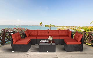 Amooly 7 Pieces Patio PE Rattan Sofa Set Outdoor Sectional Furniture Wicker Chair Conversation Set with Cushions and Tea Table Orange and Brwon