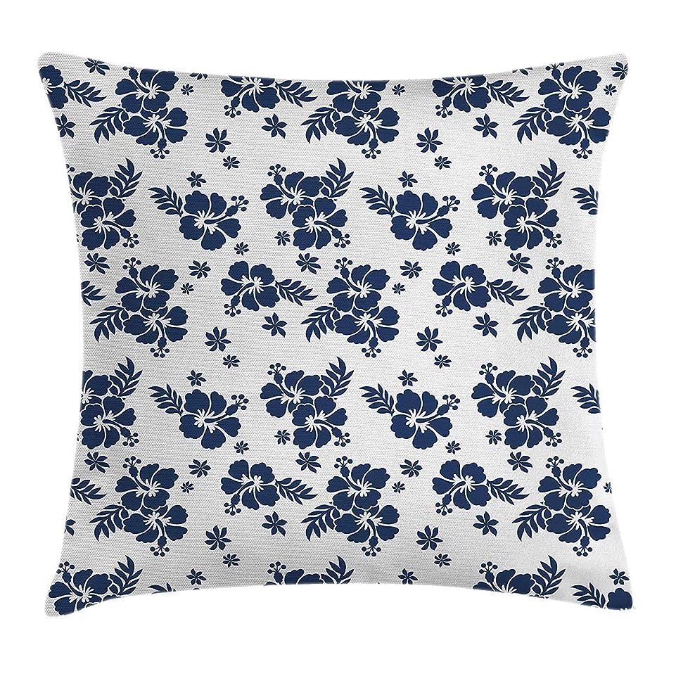 結晶チャート誤ってHawaii Throw Pillow Cushion Cover, Monochrome Foliage Bouquet Abstract Art The Flower of Aloha State Hibiscus, Decorative Square Accent Pillow Case, 18 X 18 inches, Navy Blue White