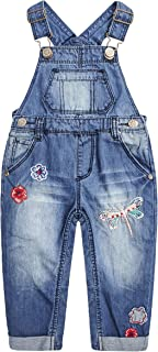 Baby Girls Easy Diaper Changing Snap Legs Flower Embroidered Denim Overalls