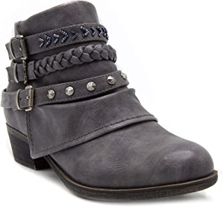 Women's Tabitha Triple Buckle Ankle Boot Ladies Side Zipper Bootie with Woven Wraparounds Studs and Overlay