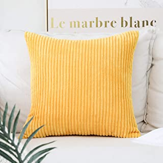 Home Brilliant Decor Super Soft Plush Corduroy Striped Throw Pillow Cushion Covers for Sofa Couch Bed, 18 x 18 Inches (45x45), Sunflower Yellow