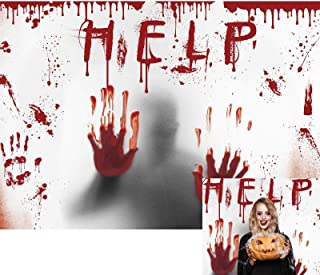 Allenjoy 7x5ft Halloween Theme Backdrop Horror Scary Hallowmas Help Me with Bloody Hands Photography Background for Kids C...