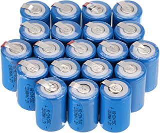 WindMax® US SELLER Blue Color 20 PCS 1.2V 2200mAh Ni-Cd NiCd Rechargeable Battery Batteries 4/5 Sub C SC with Tabs