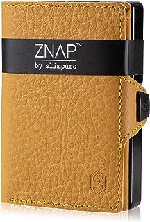 ZNAP Portafoglio Porta Carte di Credito - Protezione RFID - Giallo bottalato - Fino a 6-12 carte - Portafoglio Uomo Slim, ...