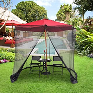 Tangkula 9/10FT Patio Umbrella Screen Umbrella with Mosquito Net Camping Tents Outdoor Patio Netting Canopy Mesh