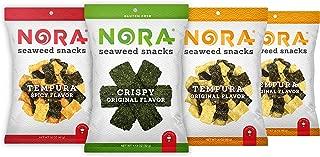 Seaweed Snacks - Seaweed Sheets - Dairy Free Snacks - Korean Snacks - Korean Seaweed Snacks Organic - Seaweed Chips - Organic Seaweed Snack - Nori Seaweed Thins - NORA Seaweed Snacks - Variety 4 Pack