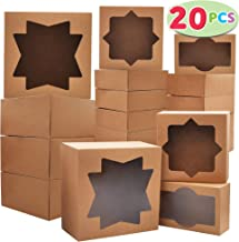 20 PCs Kraft Cardboard Bakery Cookie Boxes Set in 3 Sizes Auto-Popup with Window for Christmas Cupcakes, Cookies, Brownies, Donuts, Truffles Gift-Giving.