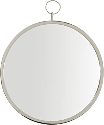 Amazon Brand – Rivet Round Glass Hanging Wall Mirror, 30 Inch Height, Silver Finish