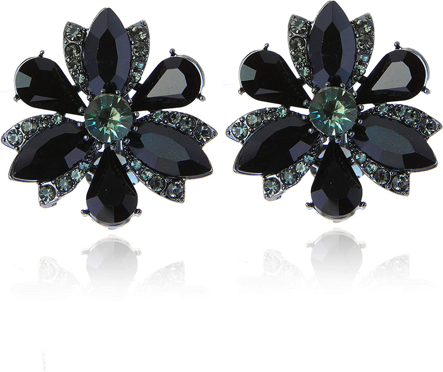 SP Sophia Collection Women's Stunning Crystal Statement Stud Floral Clip On Earrings