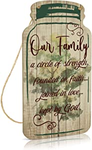 Putuo Decor God Mason Jar Sign, Farmhouse Decor, 8.3x4.5 Inches Rustic Wood Hanging Plaque for Home, Living Room, Kitchen, Bedroom - Our Family