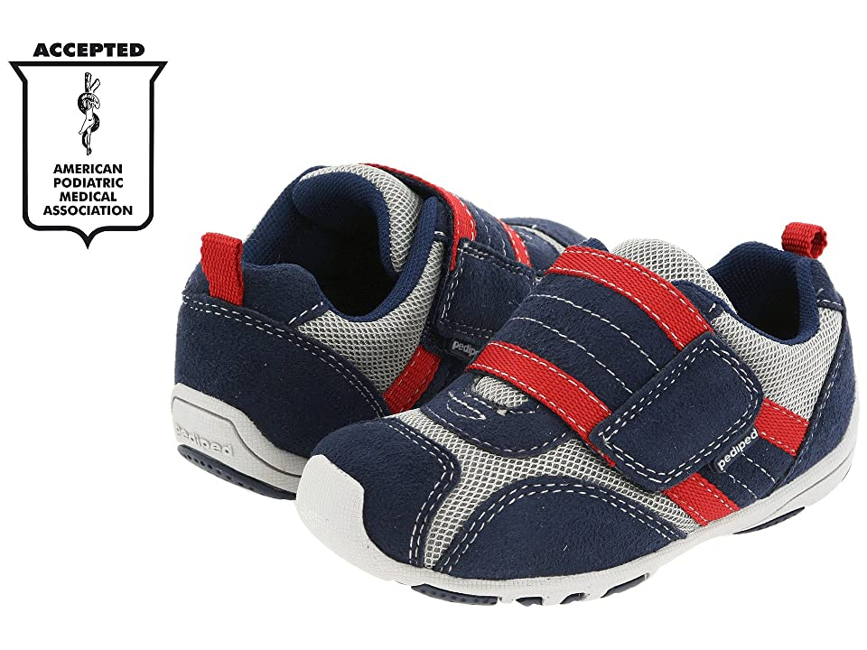 pediped Adrian Flex (Toddler/Little Kid) (Navy/Grey/Red) Boys Shoes