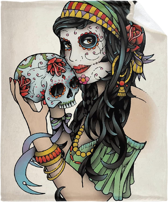 MFULEE Sugar 完全送料無料 Skull for Day of The 爆売りセール開催中 Throw Fleece Flan Blanket Dead