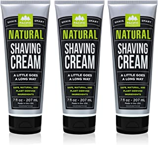 Pacific Shaving Company Natural Shave Cream - with Safe, Natural, and Plant-Derived Ingredients for a Smooth Shave, Healthy, Hydrated, Softer Skin, Less Irritation, Cruelty-Free, 7 oz (Pack of 3)