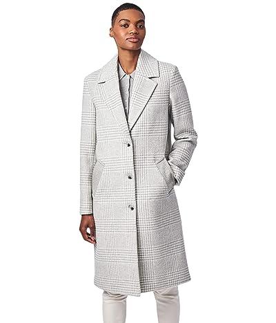 Bernardo Fashions Plaid Color-Block Wool Coat (Light Grey) Women