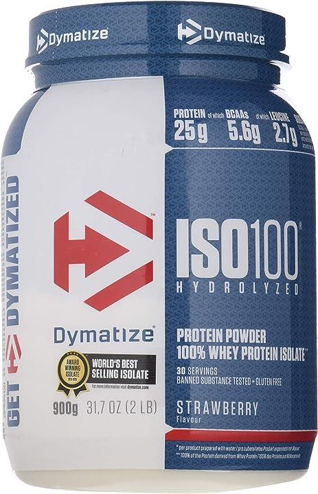 Proteine - dymatize iso 100 fragola 900g -per prima e dopo l`allenamento - 900 g 25181101