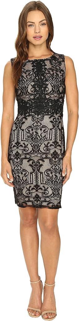 Sleeveless Textured Lace Sheath Dress