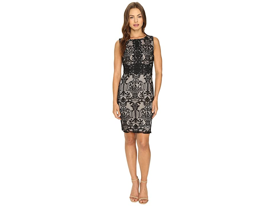 Sangria Sleeveless Textured Lace Sheath Dress (Black/Putty) Women