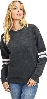 esstive Women's Ultra Soft Fleece Lightweight Casual Stripe on Sleeves Varsity Solid Sweatshirt, Charcoal, X-Small